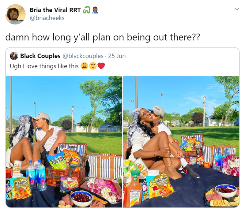 Community - Bria the Viral RRT @briacheeks damn how long y'all plan on being out there?? Black Couples @blvckcouples · 25 Jun Ugh I love things like this Reles To LIME PIJI FIJI HARIBO Goldbeare UNO UNO UN UNO HARIBO dbrar Simply Ca >