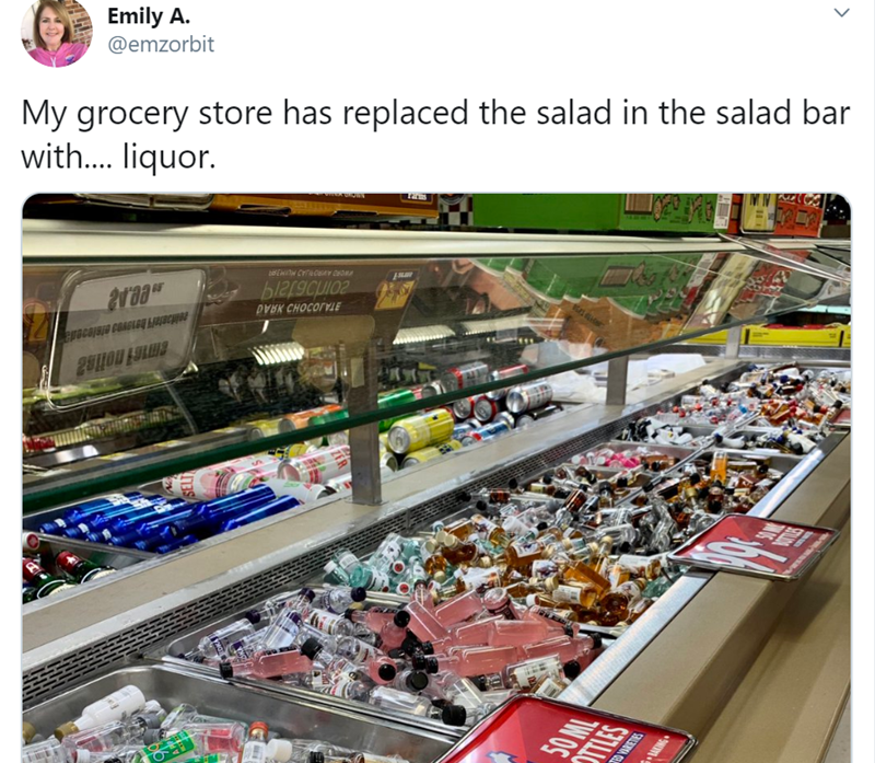 Product - Emily A. @emzorbit My grocery store has replaced the salad in the salad bar with. liquor. 20irb6ta19 DVBK CHOCOTYLE 50 ML TLES RETES ANG
