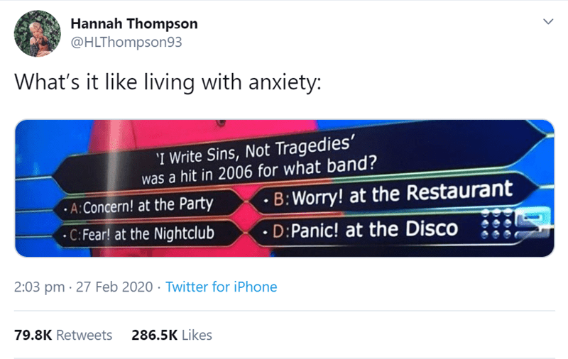 Text - Hannah Thompson @HLThompson93 What's it like living with anxiety: 'I Write Sins, Not Tragedies' was a hit in 2006 for what band? •A:Concern! at the Party • B:Worry! at the Restaurant •C: Fear! at the Nightclub • D:Panic! at the Disco 2:03 pm · 27 Feb 2020 · Twitter for iPhone 79.8K Retweets 286.5K Likes >