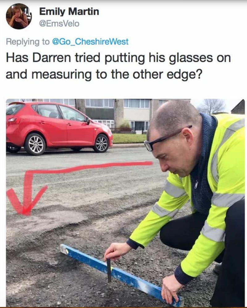 Motor vehicle - Emily Martin @EmsVelo Replying to @Go_CheshireWest Has Darren tried putting his glasses on and measuring to the other edge?