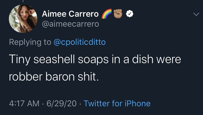 Text - Aimee Carrero @aimeecarrero Replying to @cpoliticditto Tiny seashell soaps in a dish were robber baron shit. 4:17 AM · 6/29/20 · Twitter for iPhone
