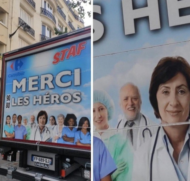 Advertising - STAF MERCI LES HÉROS Carrefour 80 FP-689 0J CHEREAU