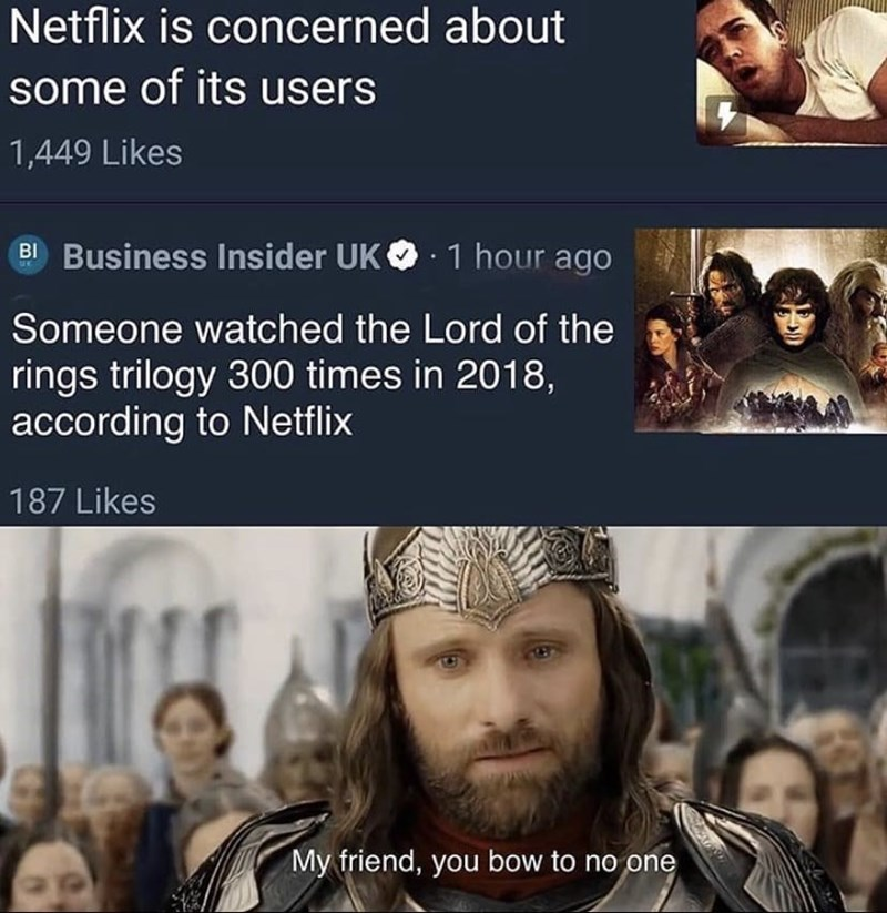 Facial expression - Netflix is concerned about some of its users 1,449 Likes BI Business Insider UK O: 1 hour ago Someone watched the Lord of the rings trilogy 300 times in 2018, according to Netflix 187 Likes My friend, you bow to no one