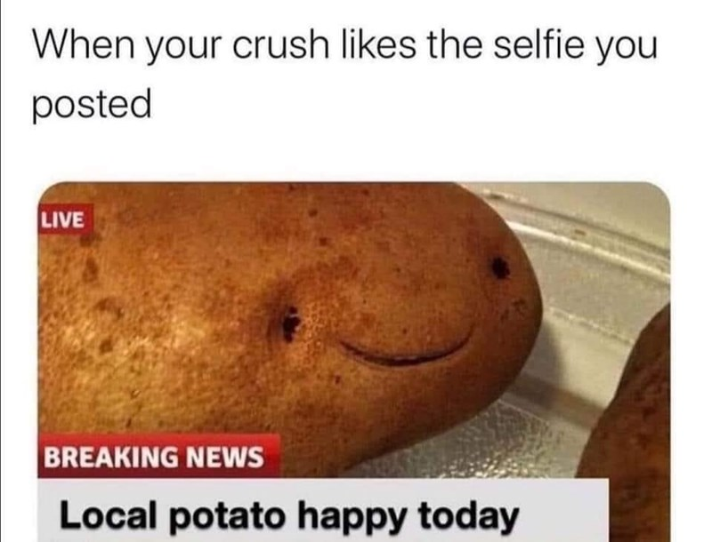Nose - When your crush likes the selfie you posted LIVE BREAKING NEWS Local potato happy today