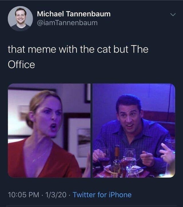 Text - Michael Tannenbaum @iamTannenbaum that meme with the cat but The Office 10:05 PM 1/3/20 · Twitter for iPhone
