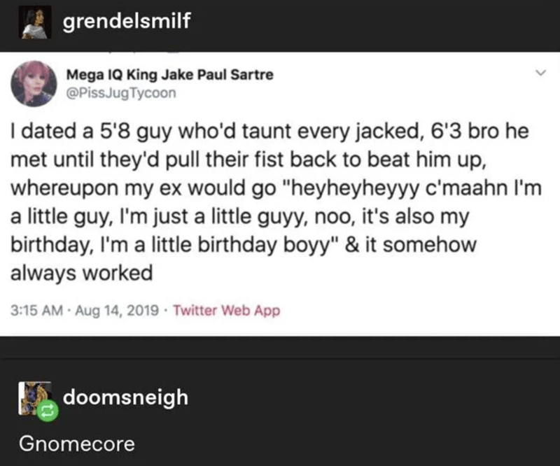 """Text - grendelsmilf Mega IQ King Jake Paul Sartre @PissJugTycoon I dated a 5'8 guy who'd taunt every jacked, 6'3 bro he met until they'd pull their fist back to beat him up, whereupon my ex would go """"heyheyheyyy c'maahn I'm a little guy, I'm just a little guyy, noo, it's also my birthday, I'm a little birthday boyy"""" & it somehow always worked 3:15 AM Aug 14, 2019 · Twitter Web App doomsneigh Gnomecore"""