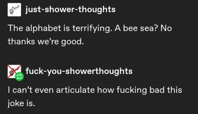 Text - just-shower-thoughts The alphabet is terrifying. A bee sea? No thanks we're good. fuck-you-showerthoughts I can't even articulate how fucking bad this joke is.