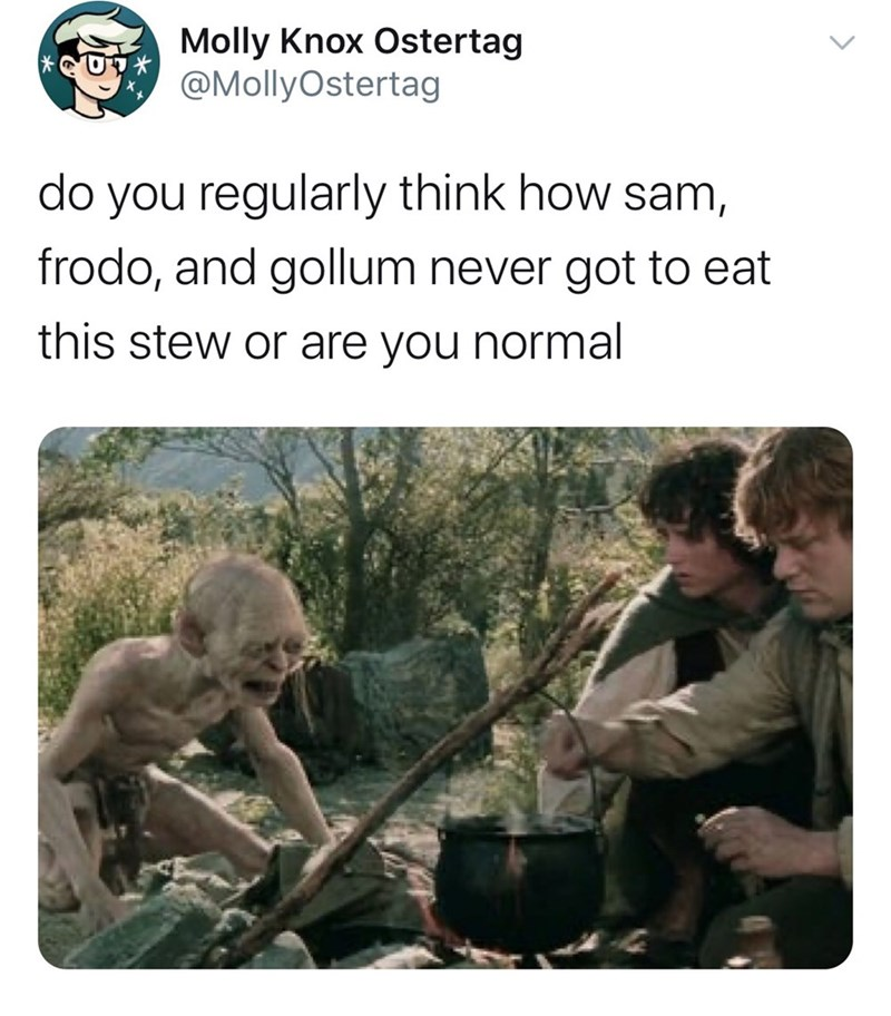 Adaptation - Molly Knox Ostertag @MollyOstertag do you regularly think how sam, frodo, and gollum never got to eat this stew or are you normal <>