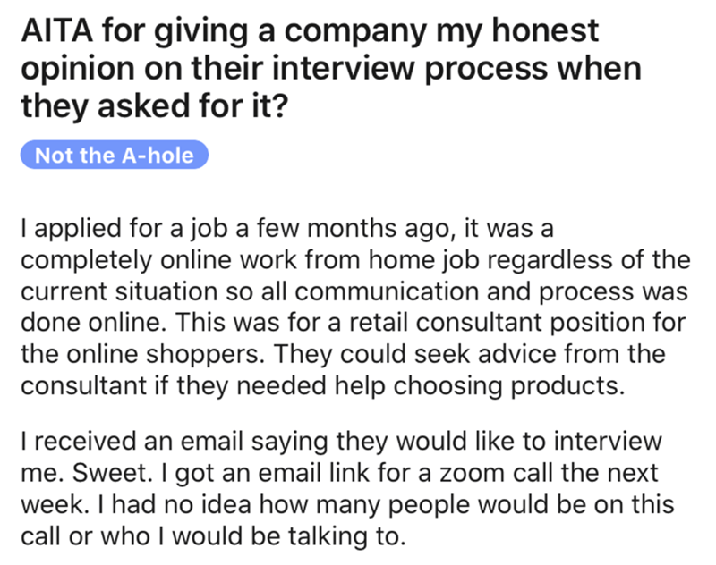 Text - AITA for giving a company my honest opinion on their interview process when they asked for it? Not the A-hole I applied for a job a few months ago, it was a completely online work from home job regardless of the current situation so all communication and process was done online. This was for a retail consultant position for the online shoppers. They could seek advice from the consultant if they needed help choosing products. I received an email saying they would like to interview me. Swee
