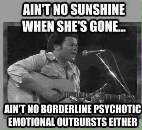 String instrument accessory - AIN'T NO SUNSHINE WHEN SHE'S GONE. AIN'T NO BORDERLINE PSYCHOTIC EMOTIONAL OUTBURSTS EITHER