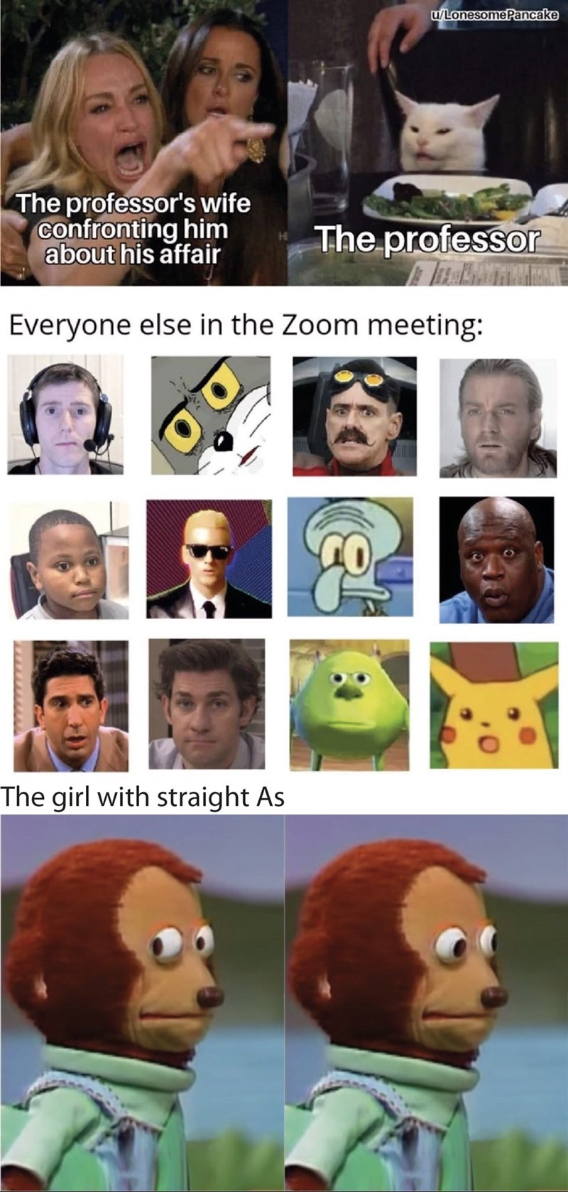 Face - u/LonesomePancake The professor's wife confronting him about his affair The professor Everyone else in the Zoom meeting: The girl with straight As
