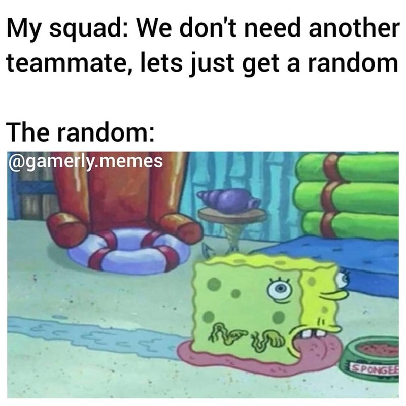 Text - My squad: We don't need another teammate, lets just get a random The random: @gamerly.memes SPONGEE