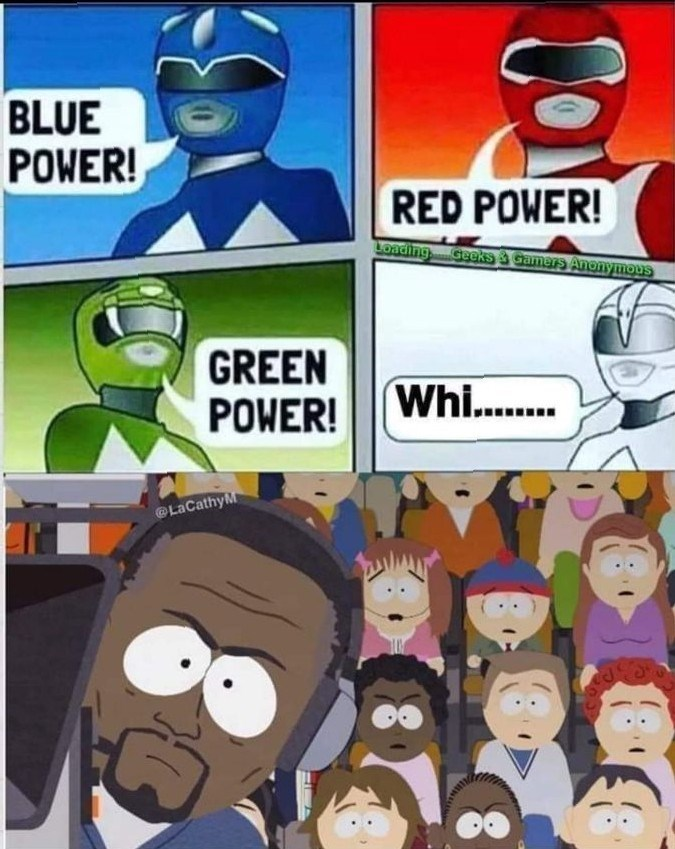 Cartoon - BLUE POWER! RED POWER! Loading Geeks camers Anonymous GREEN POWER! Whi.. @LaCathyM