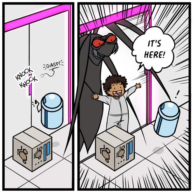 Cartoon - KNOCK KNOCK GASP!- IT'S HERE!