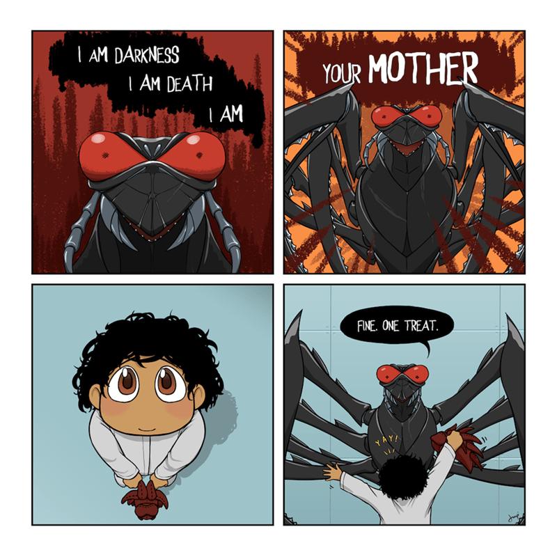 Cartoon - Cartoon -   AM DARKNESS   AM DEATH YOUR MOTHER L AM FINE. ONE TREAT.