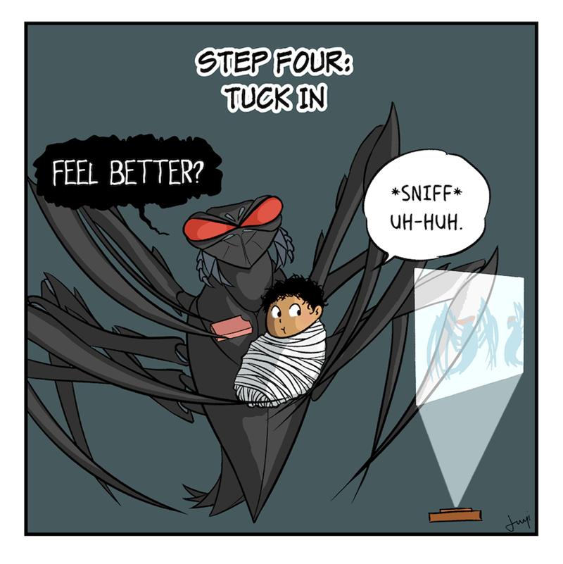 Cartoon - Cartoon - STEP FOUR: TUCK IN FEEL BETTER? *SNIFF* UH-HUH.