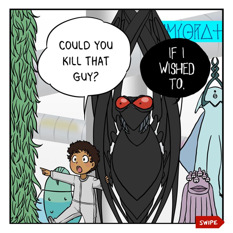 Cartoon - Cartoon - WOKA+ COULD YOU IF I WISHED TO. KILL THAT GUY? SWIPE