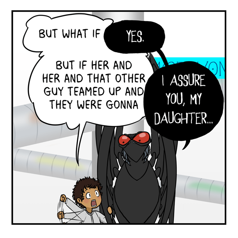 Cartoon - Cartoon - BUT WHAT IF YES. BUT IF HER AND HER AND THAT OTHER GUY TEAMED UP AND THEY WERE GONNA ON   ASSURE YOU, MY DAUGHTER.