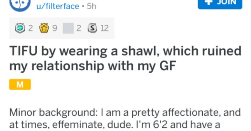 Guy wears an ugly, cursed shawl and ends up losing his girlfriend in the process.
