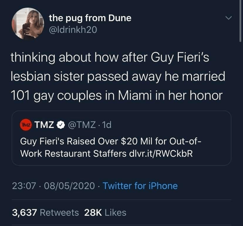 Text - the pug from Dune @ldrinkh20 thinking about how after Guy Fieri's lesbian sister passed away he married 101 gay couples in Miami in her honor TMZ TMZ O @TMZ · 1d Guy Fieri's Raised Over $20 Mil for Out-of- Work Restaurant Staffers dlvr.it/RWCkbR 23:07 - 08/05/2020 · Twitter for iPhone 3,637 Retweets 28K Likes