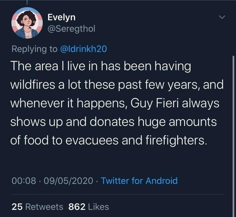 Text - Evelyn @Seregthol Replying to @ldrinkh20 The area I live in has been having wildfires a lot these past few years, and whenever it happens, Guy Fieri always shows up and donates huge amounts of food to evacuees and firefighters. 00:08 · 09/05/2020 · Twitter for Android 25 Retweets 862 Likes