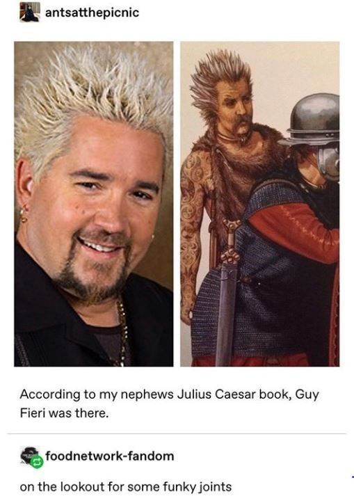 Hair - antsatthepicnic According to my nephews Julius Caesar book, Guy Fieri was there. foodnetwork-fandom on the lookout for some funky joints