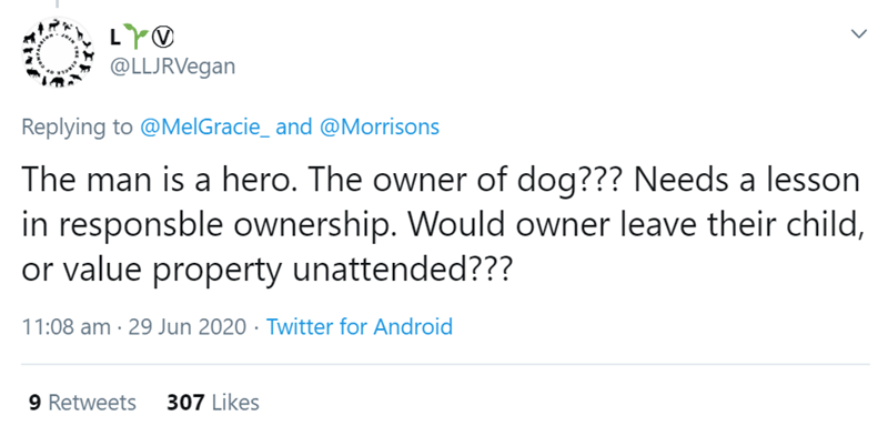 Text - LYO @LLJRVegan Replying to @MelGracie_ and @Morrisons The man is a hero. The owner of dog??? Needs a lesson in responsble ownership. Would owner leave their child, or value property unattended??? 11:08 am · 29 Jun 2020 · Twitter for Android 9 Retweets 307 Likes >