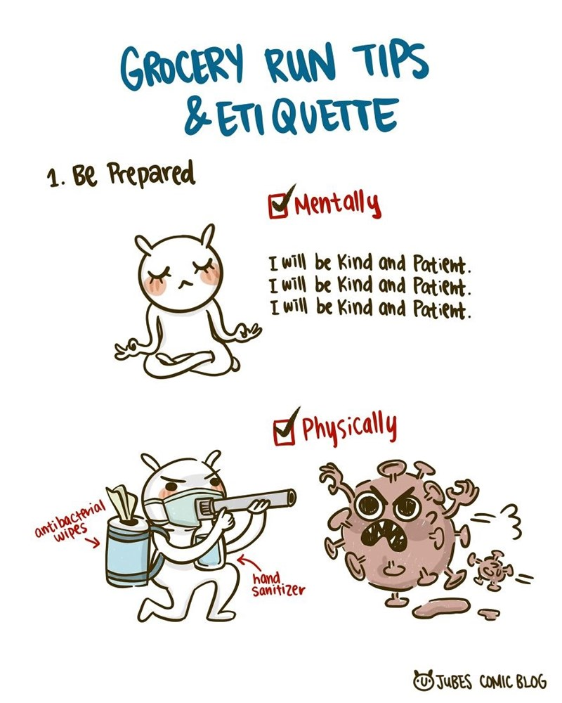 Text - GROCERY RUN TIPS & ETI QUETTE 1. Be Prepared E Mentally I will be Kind and Patient. I will be Kind and Patient. I will be Kind and Patient. g Physicaly antibacterial wipes hand. Sanitizer OJUBES COMIC BLOG