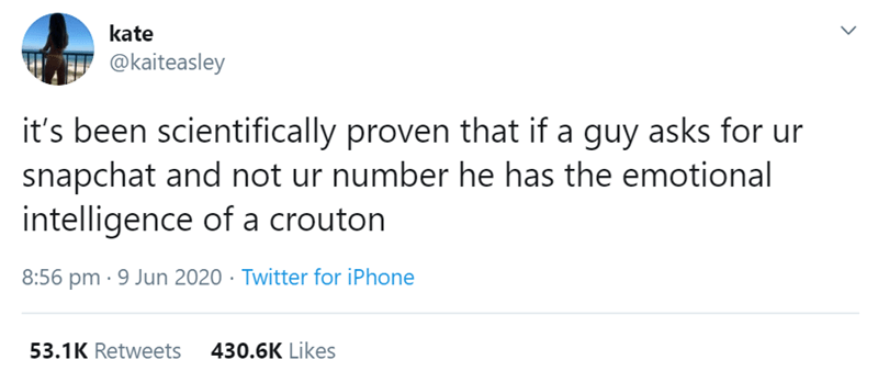 Text - kate @kaiteasley it's been scientifically proven that if a guy asks for ur snapchat and not ur number he has the emotional intelligence of a crouton 8:56 pm · 9 Jun 2020 · Twitter for iPhone 53.1K Retweets 430.6K Likes >