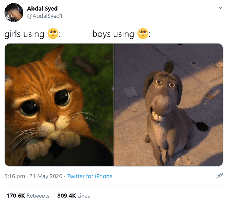 Felidae - Abdal Syed @AbdalSyed1 girls using boys using 5:16 pm · 21 May 2020 · Twitter for iPhone 170.6K Retweets 809.4K Likes