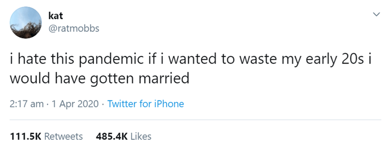 Text - kat @ratmobbs i hate this pandemic if i wanted to waste my early 20s i would have gotten married 2:17 am · 1 Apr 2020 · Twitter for iPhone 111.5K Retweets 485.4K Likes >