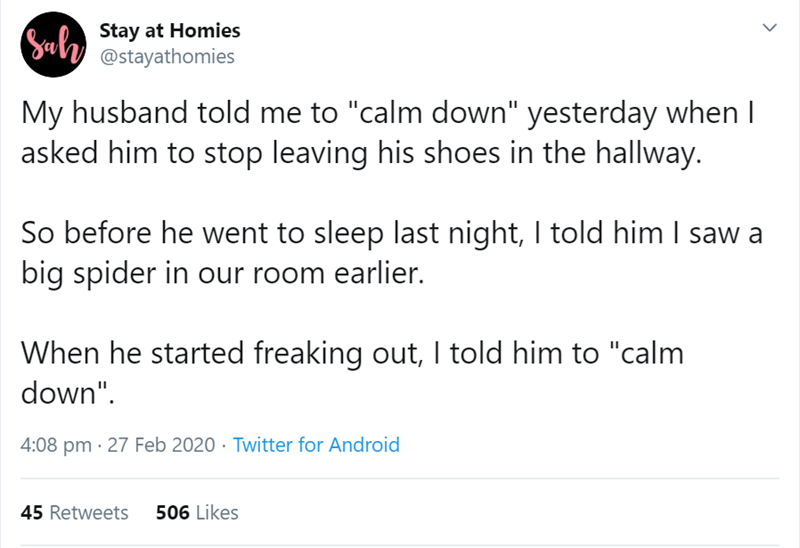 """Text - Sul Stay at Homies @stayathomies My husband told me to """"calm down"""" yesterday when I asked him to stop leaving his shoes in the hallway. So before he went to sleep last night, I told him I saw a big spider in our room earlier. When he started freaking out, I told him to """"calm down"""". 4:08 pm · 27 Feb 2020 · Twitter for Android 45 Retweets 506 Likes"""