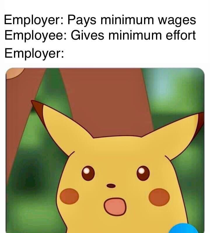 Funny 'Surprised Pikachu' meme about doing the bare minimum of work when your employer pays minimum wage