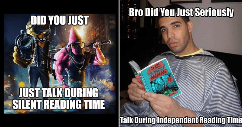 Funny memes, independent reading time memes, silent reading time memes