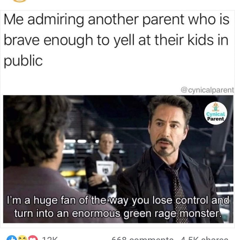 Text - Me admiring another parent who is brave enough to yell at their kids in public @cynicalparent Cynical Parent I'm a huge fan of the way you lose control and turn into an enormous green rage monster. 66 4.5K oheree mmon