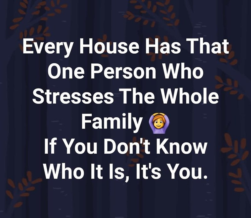 Text - Every House Has That One Person Who Stresses The Whole Family O If You Don't Know Who It Is, It's You.