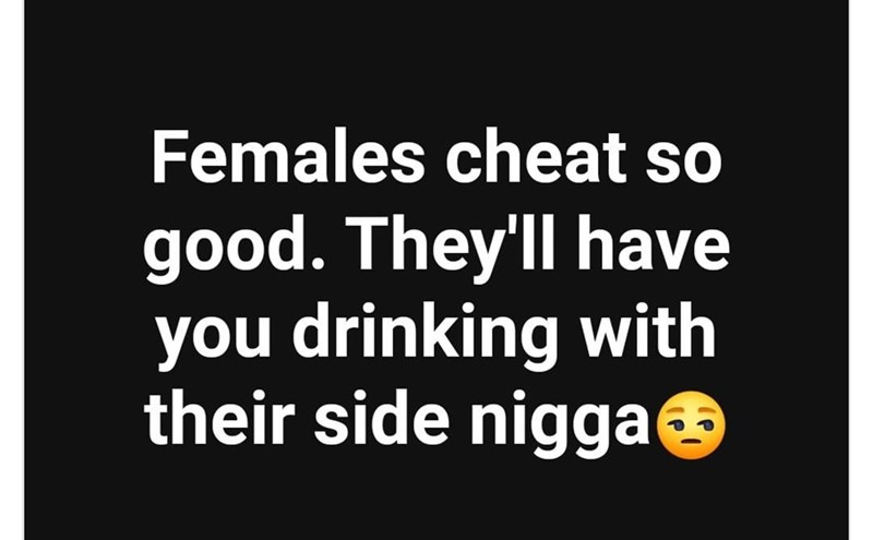 Text - Females cheat so good. They'll have you drinking with their side niggae