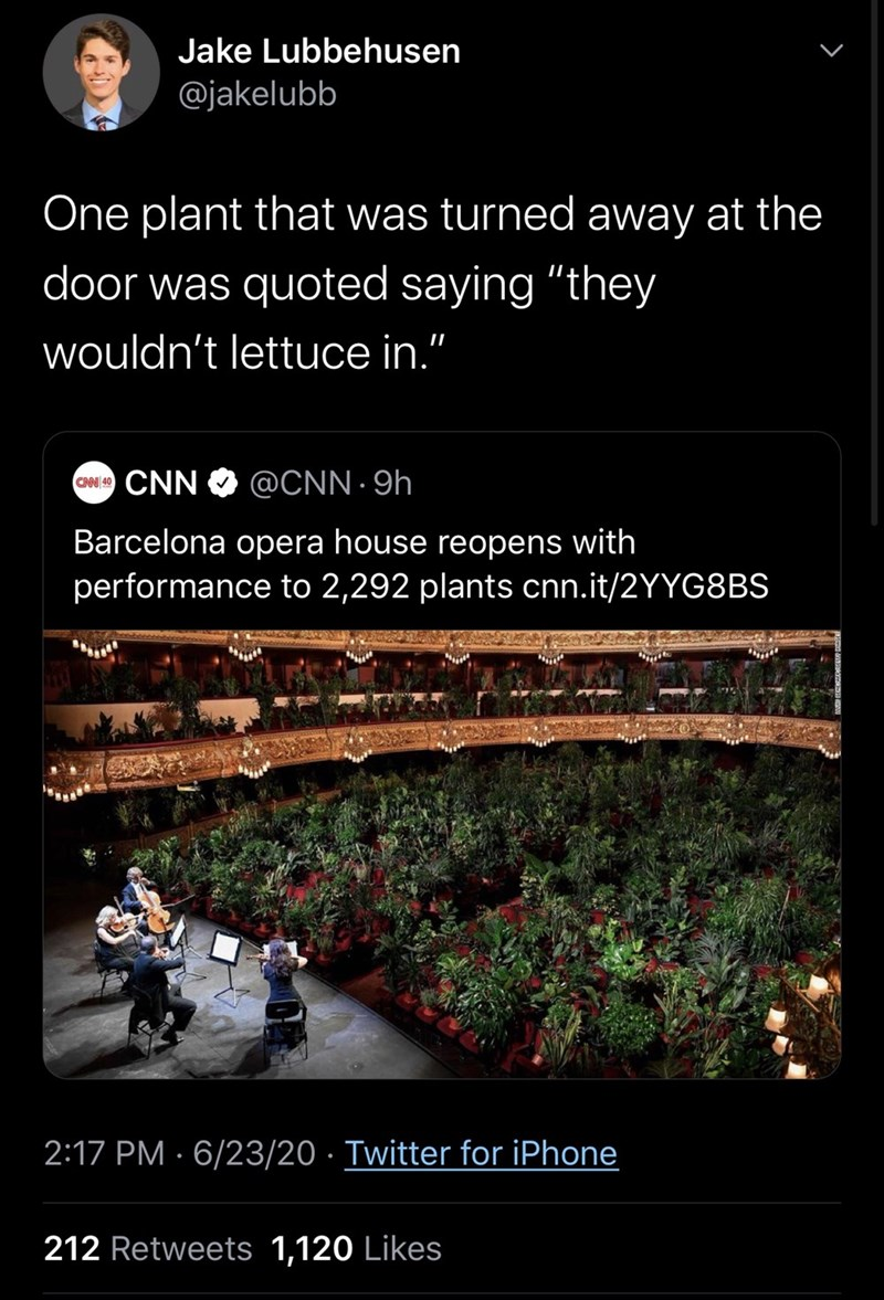 """Text - Jake Lubbehusen @jakelubb One plant that was turned away at the door was quoted saying """"they wouldn't lettuce in."""" CN CNN @CNN · 9h Barcelona opera house reopens with performance to 2,292 plants cnn.it/2YYG8BS 2:17 PM · 6/23/20 · Twitter for iPhone 212 Retweets 1,120 Likes"""
