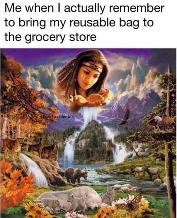 Nature - Me when I actually remember to bring my reusable bag to the grocery store ype to enter text