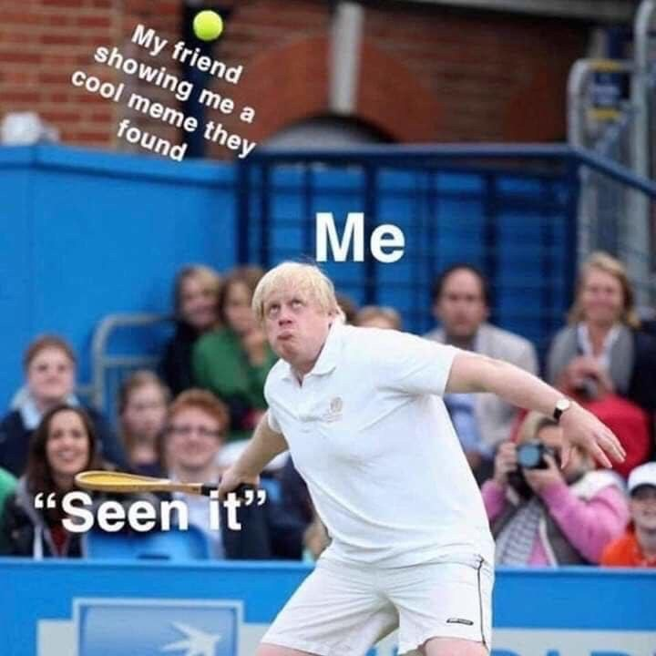 """Racquet sport - My friend showing me a cool meme they found Me """"Seen it"""""""