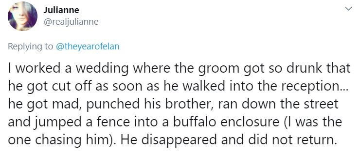 Text - Julianne @realjulianne Replying to @theyearofelan I worked a wedding where the groom got so drunk that he got cut off as soon as he walked into the reception... he got mad, punched his brother, ran down the street and jumped a fence into a buffalo enclosure (I was the one chasing him). He disappeared and did not return.