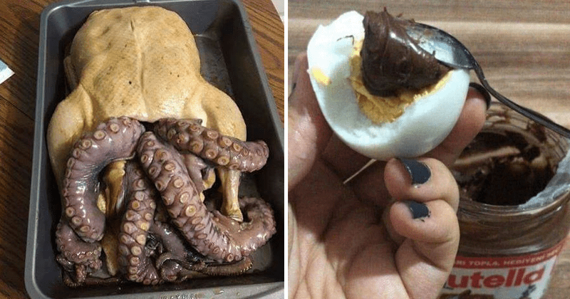 Cursed food images, gross food pics, nasty food pictures, hot dogs, spaghetti-os, weird egg pics
