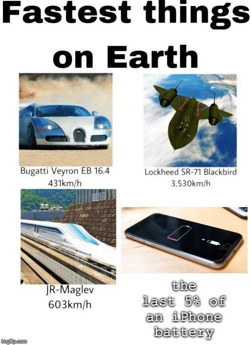 Vehicle - Fastest things on Earth Bugatti Veyron EB 16.4 431km/h Lockheed SR-71 Blackbird 3,530km/h the last 5% of an i Phone battery JR-Maglev 603km/h imgfip.com