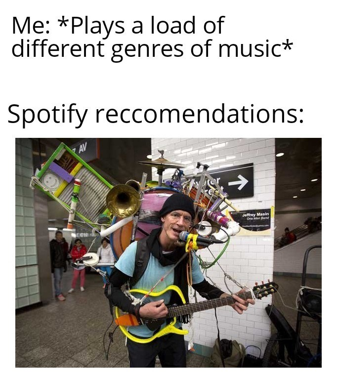 Photography - Me: *Plays a load of different genres of music* Spotify reccomendations: マAV -> Jeffrey Masin One Man Band