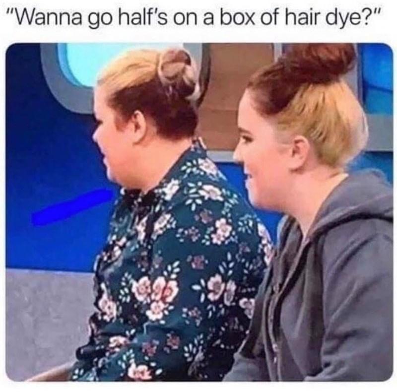 """Hairstyle - """"Wanna go half's on a box of hair dye?"""""""