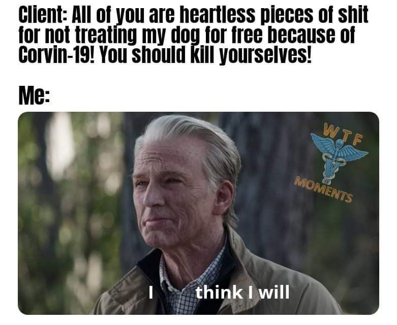 Text - Cilent: All of you are heartless pleces of shlt for not treating my dog for free because of Corvin-19! You should kill yourselves! Me: WTF MOMENTS think I will