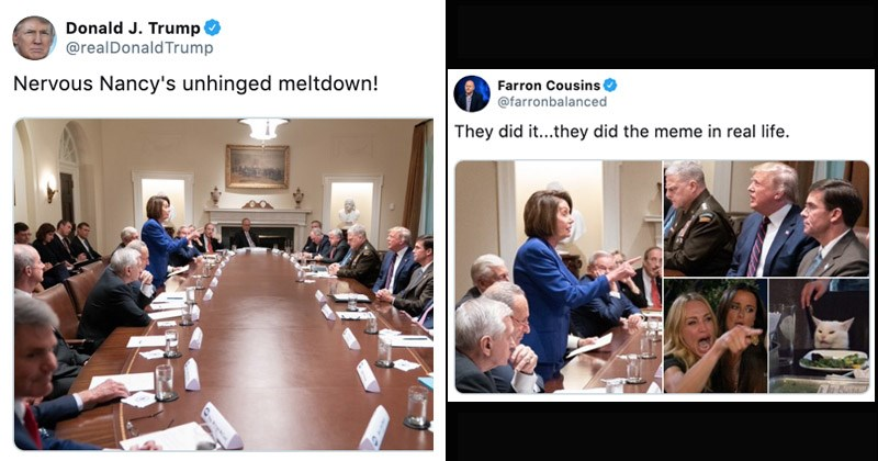 "Funny memes entitled, ""Nancy Pelosi Pointing at Donald Trump"""