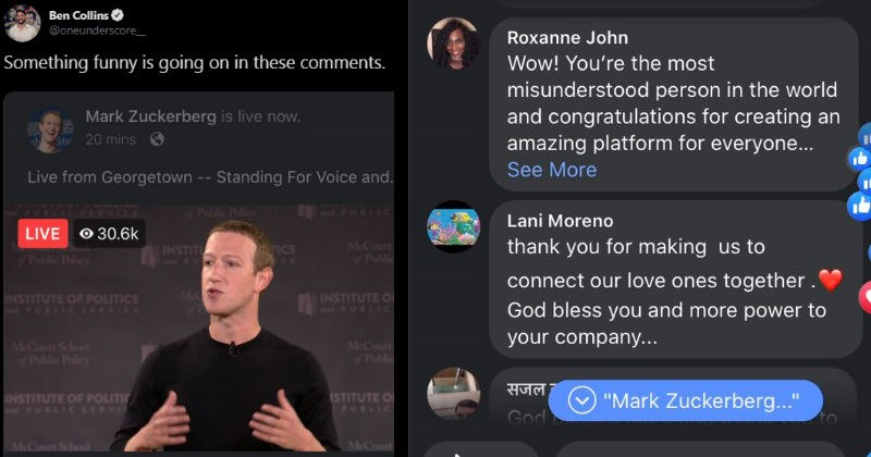 Mark Zuckerberg's live conference comments section ends up looking like a dystopian novel.