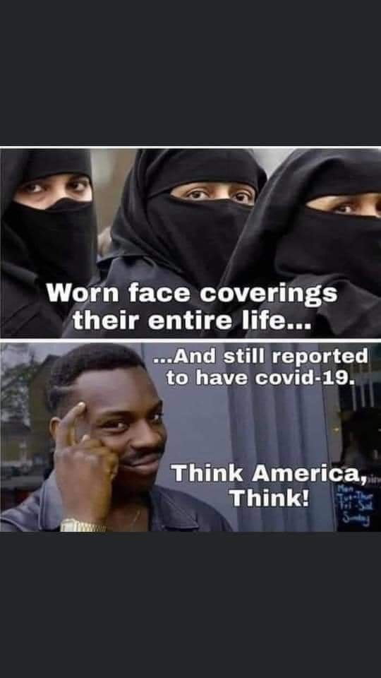 """Photo caption - Worn face coverings their entire life..."""" ...And still reported to have covid-19. Think America, Think!"""