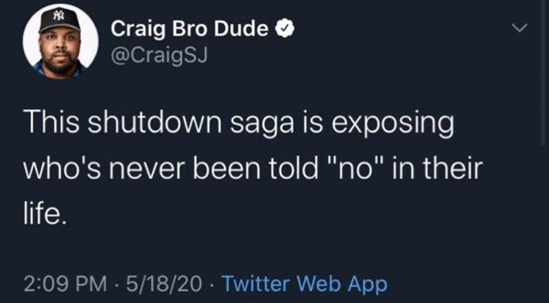 """Text - Craig Bro Dude @CraigSJ This shutdown saga is exposing who's never been told """"no"""" in their life. 2:09 PM · 5/18/20 · Twitter Web App"""